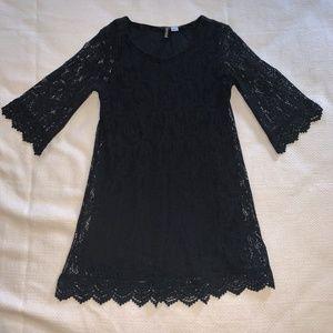 H&M 3/4 Length Sleeve Black Lace Dress - Size: 12